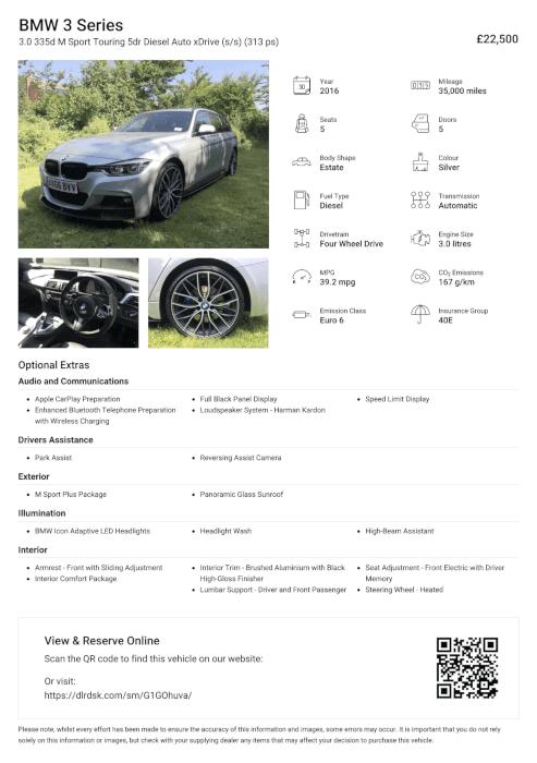 DealerDesk - Car Dealer Inventory Software - Silent Salesman Sheet
