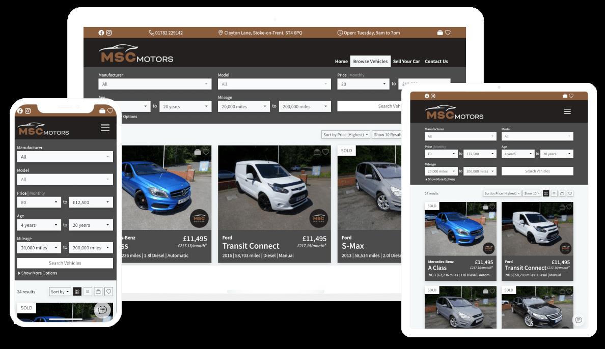 DealerDesk - Car Sales Website - Responsive Websites - Browse Vehicles - Multiple Devices