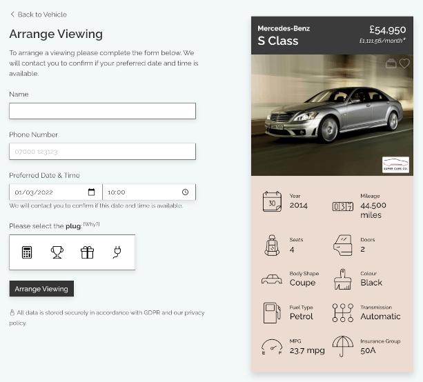 DealerDesk - Car Sales Website - Arrange Viewing