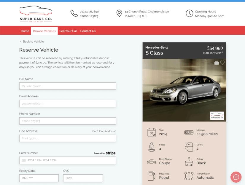 DealerDesk - Car Dealer Website - Reserve Vehicle