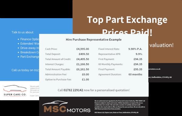 DealerDesk - Car Dealership Management Software - Image Templates & Representative Finance Examples